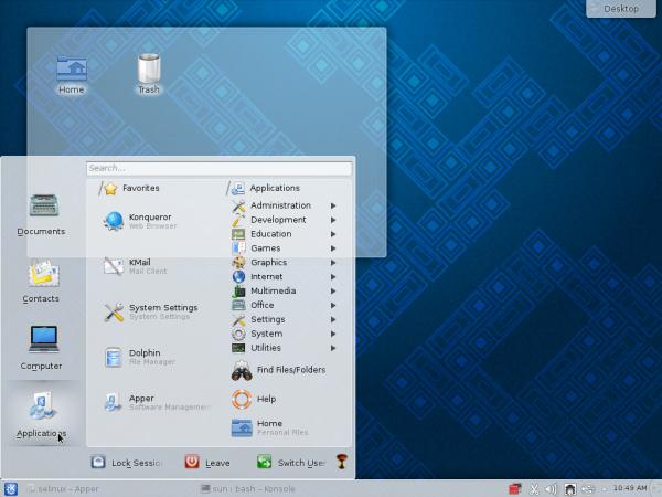 Lancelot menu Fedora 19 KDE