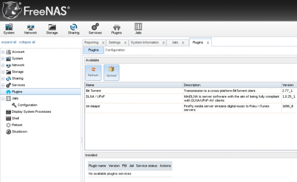 FreeNAS Web GUI DLNA/UpnP, iTunes/DAAP NAS