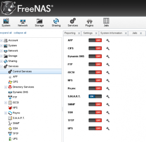 FreeNAS Web GUI admin FreeBSD NAS