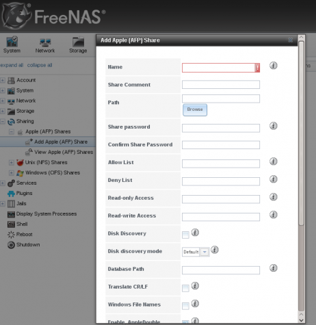 FreeNAS Web GUI Apple AFP Share NAS