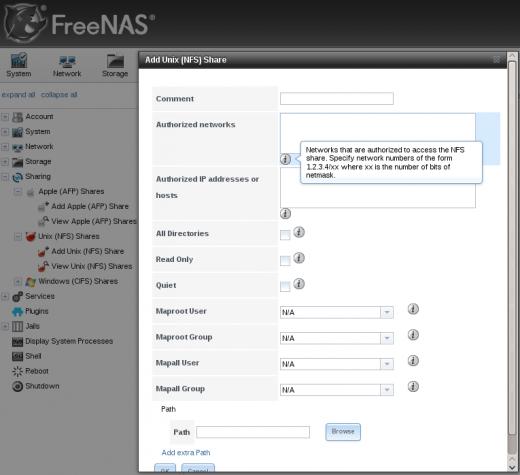 FreeNAS Web GUI UNIX NFS NAS