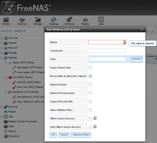 FreeNAS Web GUI Windows CIFS NAS
