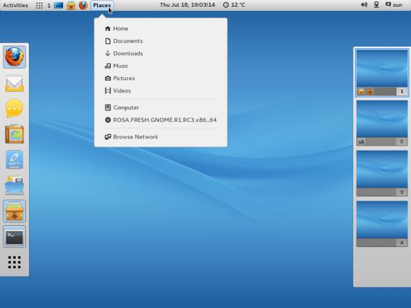 ROSA Desktop R GNOME 3 taskbar