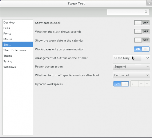 Fedora 19 GNOME Shell GNOME Tweak Tool