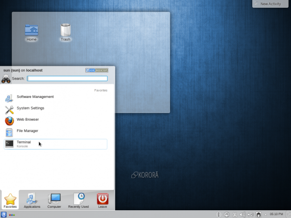 Korora 19 review KDE Kickoff menu