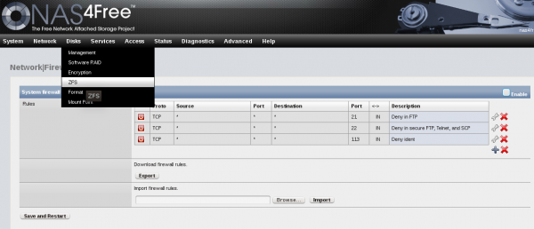 NAS4Free NAS Web GUI management interface