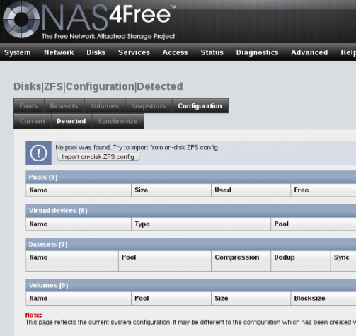 NAS4Free NAS Web GUI ZFS filesystem