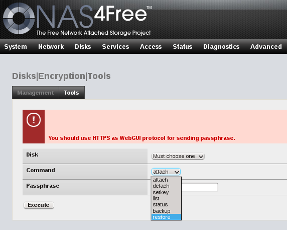 NAS4Free NAS Web GUI ZFS disk encryption