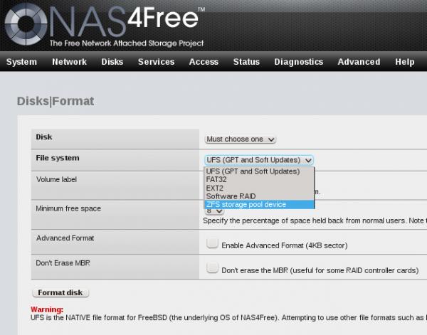 NAS4Free NAS Web GUI ZFS UFS ext2 MBR GPT