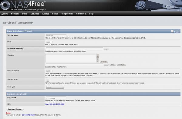 NAS4Free NAS Web GUI iTunes DAAP