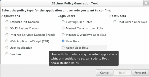 SELinux Policy Generator Fedora 19