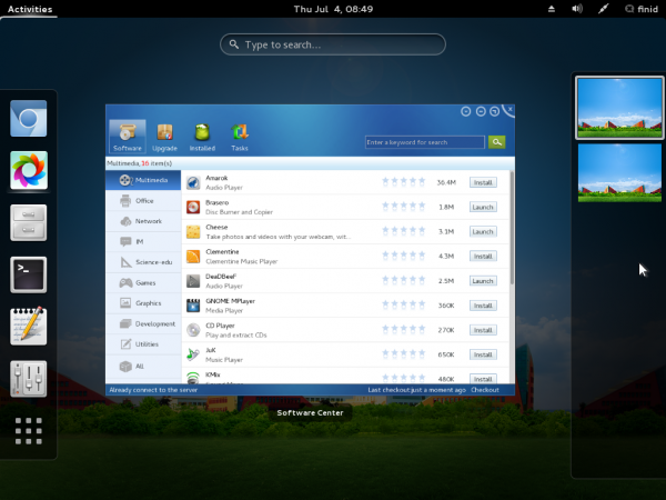 StartOS Linux 6 GNOME 3 activities overview