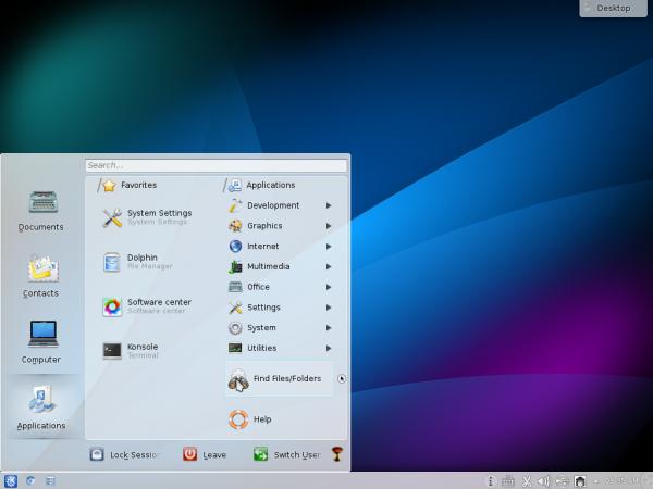 StartOS 6 desktop KDE lancelot menu