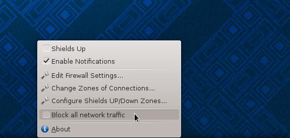Firewalld firewall-applet Fedora 19 KDE