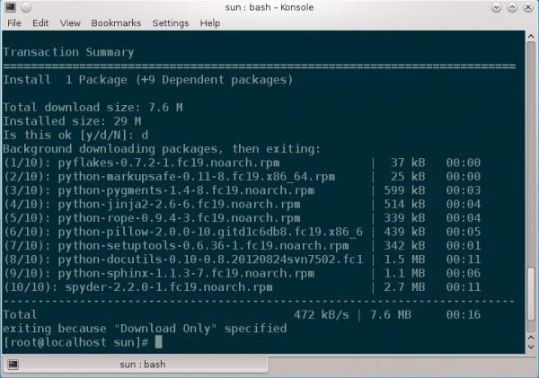Fedora 19 yum install