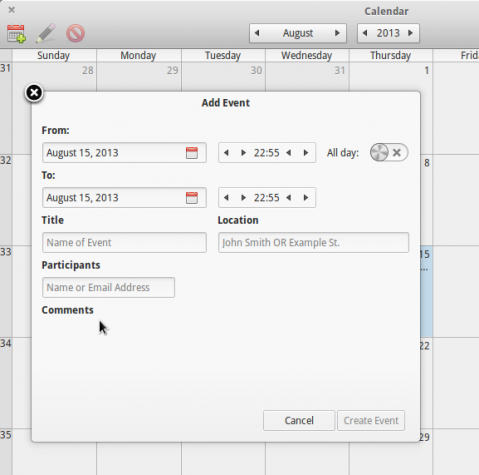 Elementary OS Luna event Calendar Linux