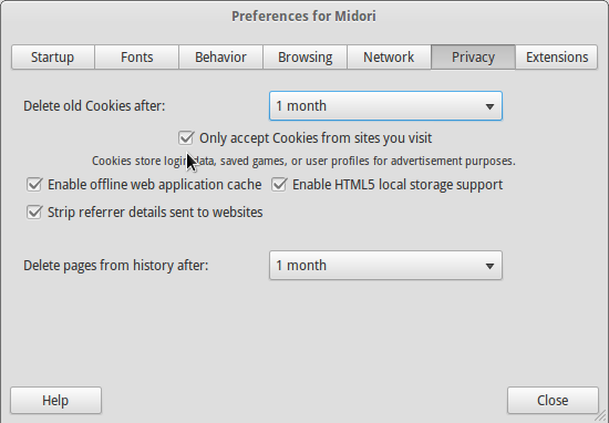 Midori Cookie Settings