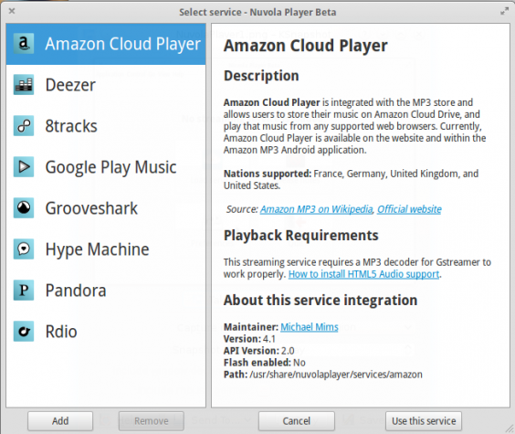 Nuvola Player Cloud music rdio google music