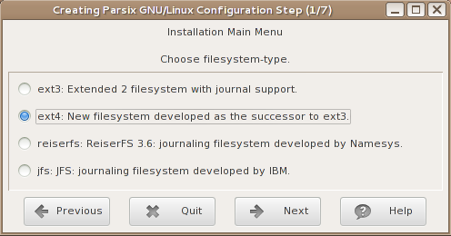 Parsix 5 installer LInux file systems
