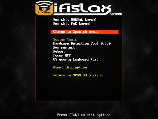 Wifislax wireless hacking Linux boot menu