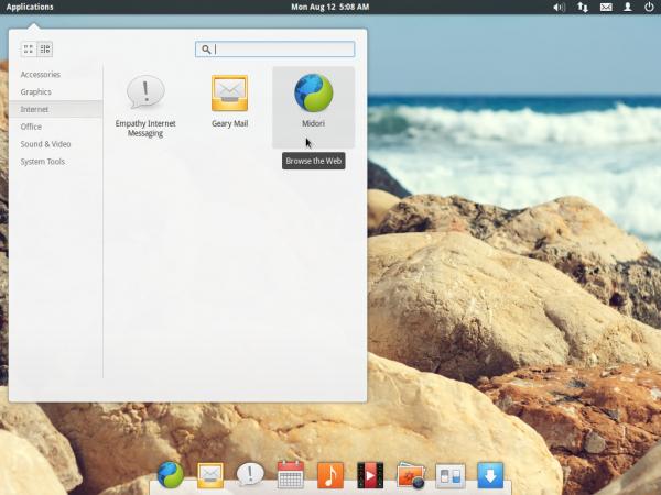 Elementary OS Luna Desktop menu