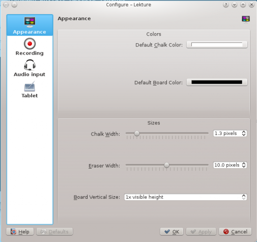 Lekture general settings KDE education