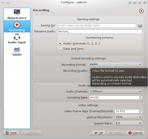 Lekture video settings webm ogg theora KDE education