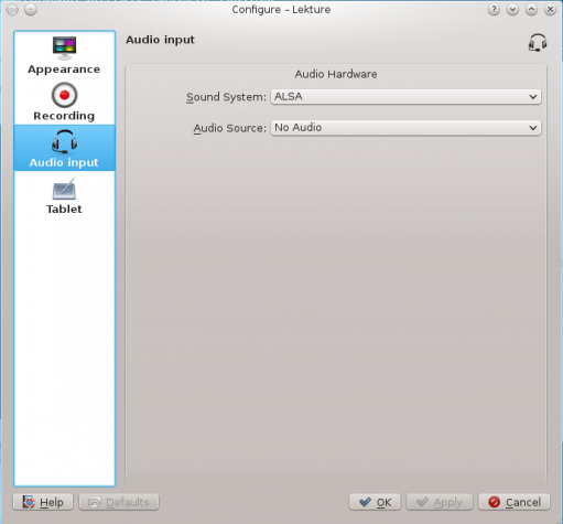Lekture audio settings KDE education