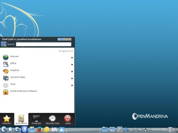 OpenMandriva Desktop Kickoff menu