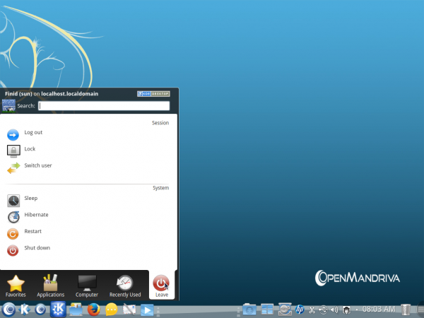 OpenMandriva Desktop Kickoff menu apps