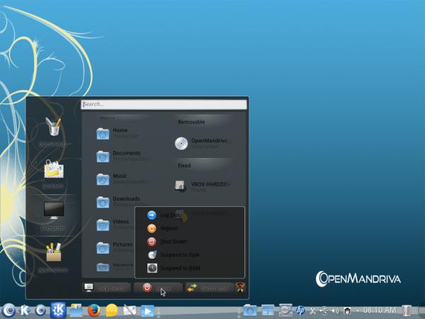 OpenMandriva Desktop menu lancelot folders