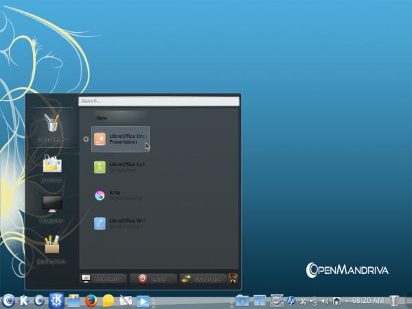 OpenMandriva Desktop menu lancelot docs