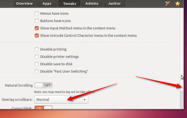 Ubuntu 13.10 normal scrollbar