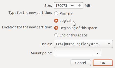Ubuntu 13.10 install partition editor