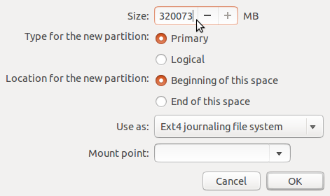 Ubuntu 13.10 install add partition
