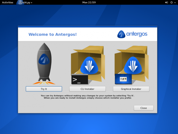 Antergos live gnome 3 desktop