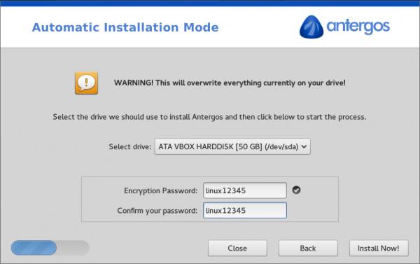 Antergos disk encryption passphrase