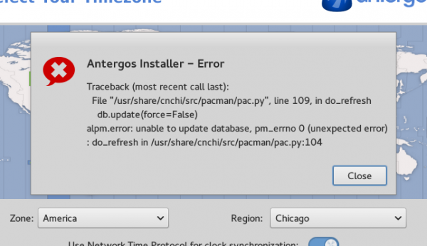 Antergos cnchi crash error