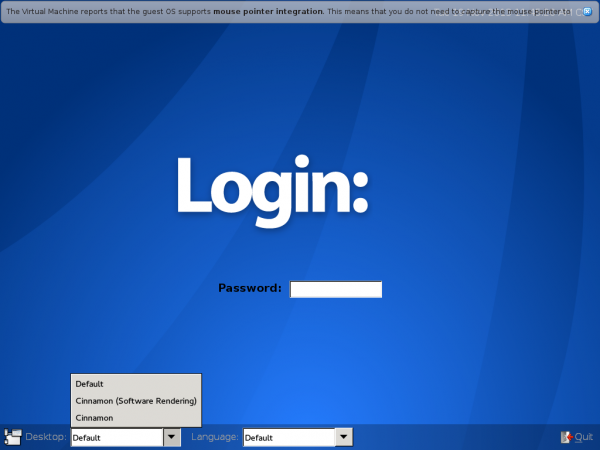 Antergos Cinnamon 2.0 login screen