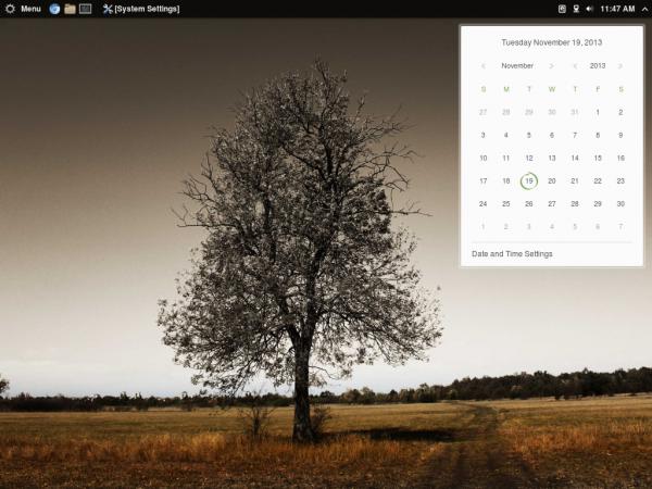 Antergos Cinnamon desktop calendar
