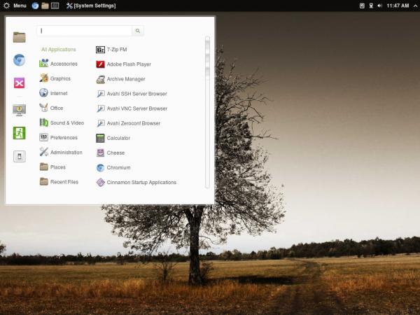 Antergos Cinnamon desktop menu
