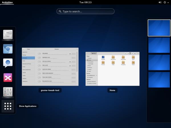 Antergos GNOME 3 desktop expo