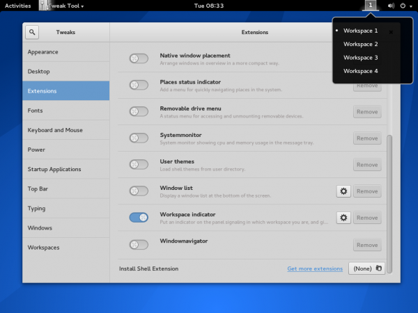 Antergos GNOME 3 tweak tool