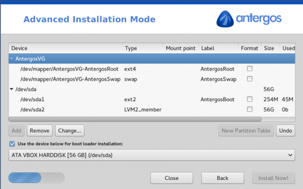 Antergos Arch Linux Cnchi disk partition methods LVM