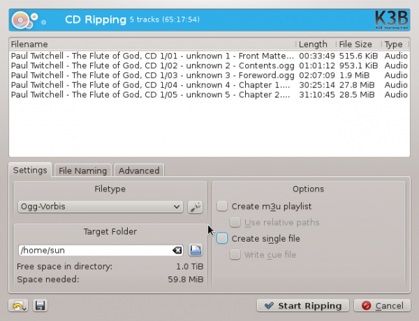 K3b CD DVD Bluray ripper