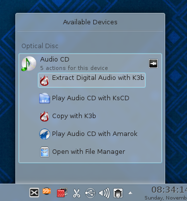 KDE Removable Media Actions