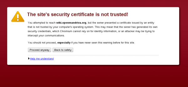 CAcert untrusted digital certificate Chromium