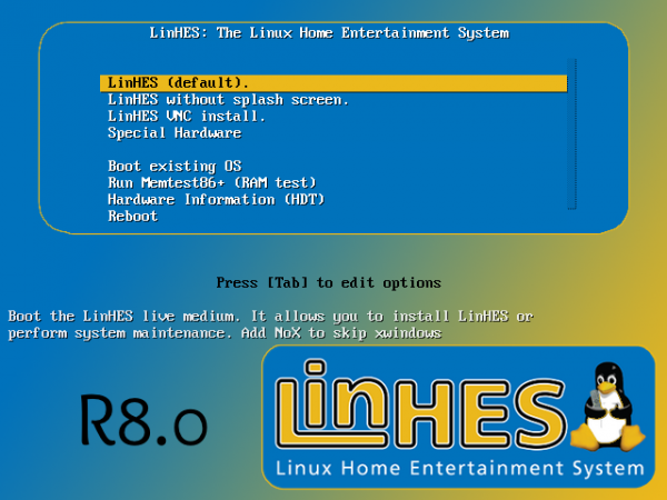 LinHES boot menu pvr jukebox