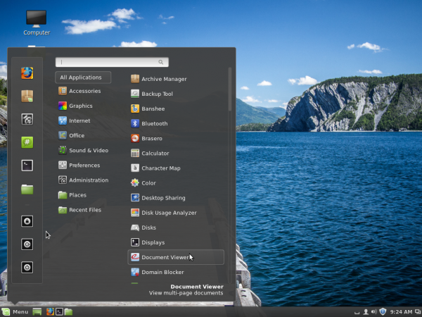 Linux Mint 16 Cinnamon desktop menu