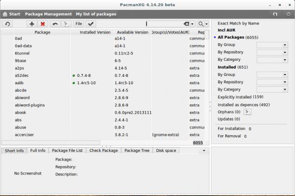 PacmanXG Arch Linux pacman